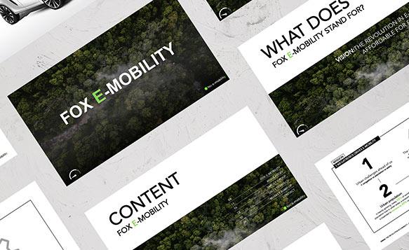 Beispiel von Verkaufsunterlagen für Fox E-Mobility von CUSTOMIZE