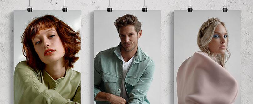 Drei Stills mit zwei Damenfrisuren und einer Herrenfrisur aus der dm Trendkollektion