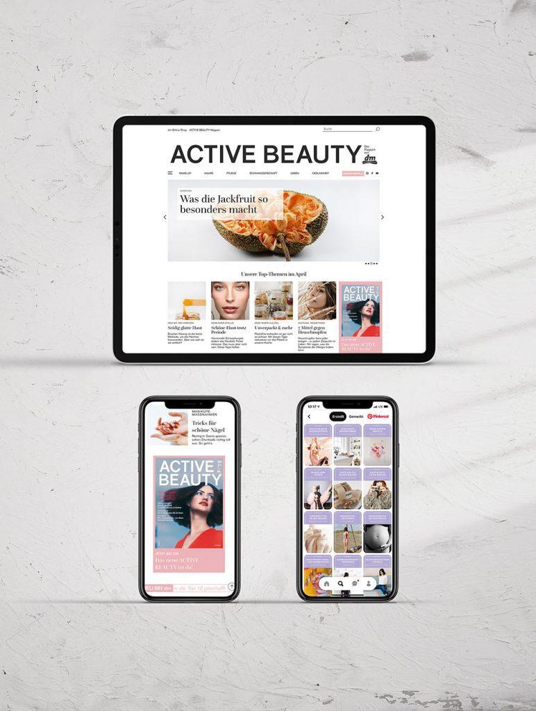 Active-Beauty-Website auf Tablet und Smartphone